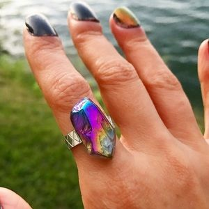 🔴SALE ! Rainbow titanium angel aura crystal ring